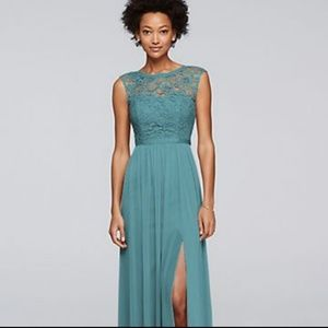 Long Bridemaid Dress from David's Bridal in Teal